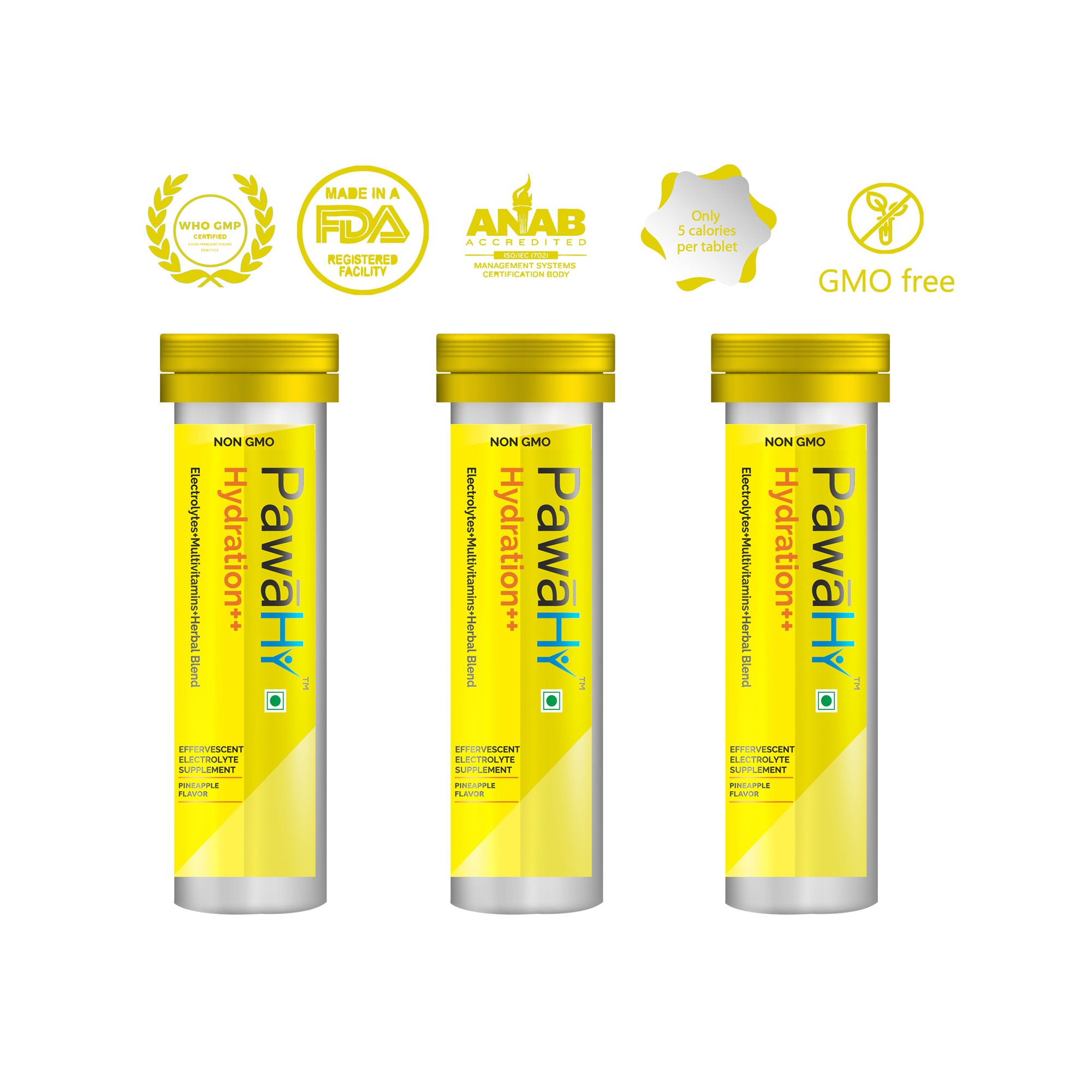 PawaHy Energy Drink for Workout,Electrolytes+Multivitamins+Herbs,Instant Hydration -10 Tablets (Pineapple) Pack of 3