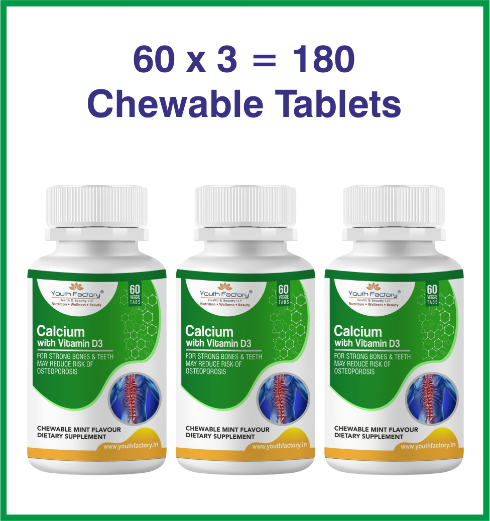 CALCIUM WITH VIT D CHEWABLE TABLET - PACK OF 3