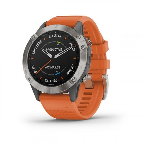 Garmin Fēnix 6 Sapphire Titanium With Ember Orange Band