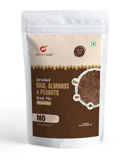 Sprouted Ragi, Almonds & Peanuts Drink Mix (Chocolate) 200g