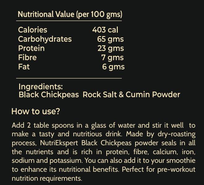 NutriEkspert Black Chickpeas Pre-Workout Supplement 350 Gms