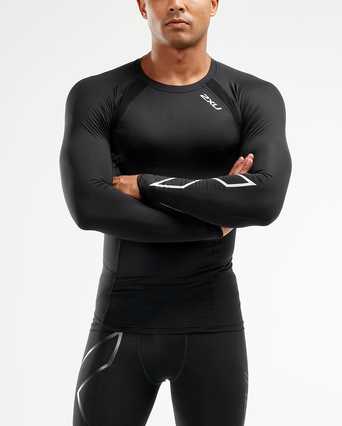 2XU Men's Compression Long Sleeve Top - Black/Silver