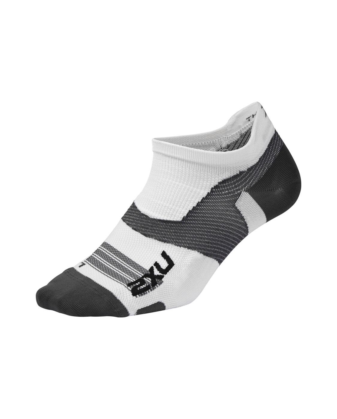 2XU Unisex Vectr Ultralight No Show Socks - White/Grey