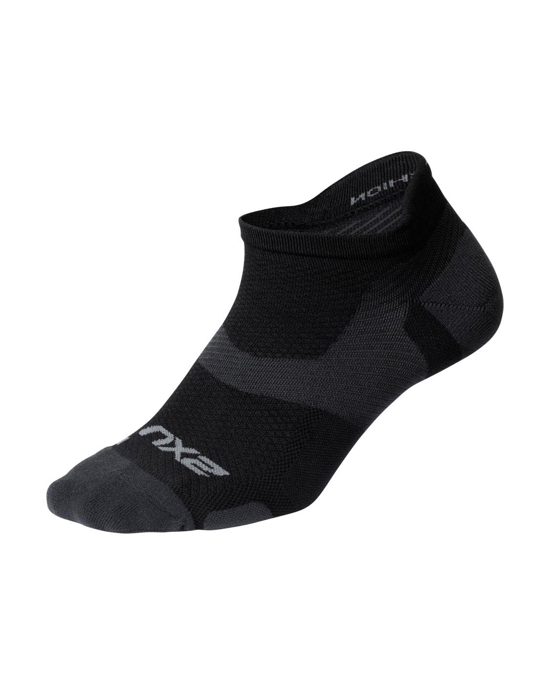 2XU Unisex Vectr LightCushion NoShow Sock - Black/Titanium