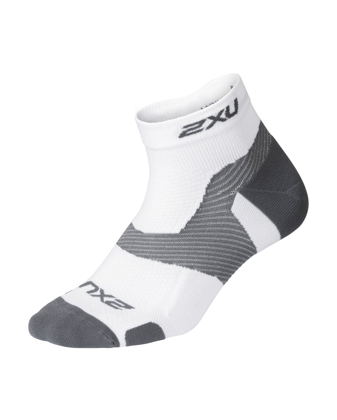 2XU Unisex Vectr Light Cush 1/4 Crew Sock - White/Grey