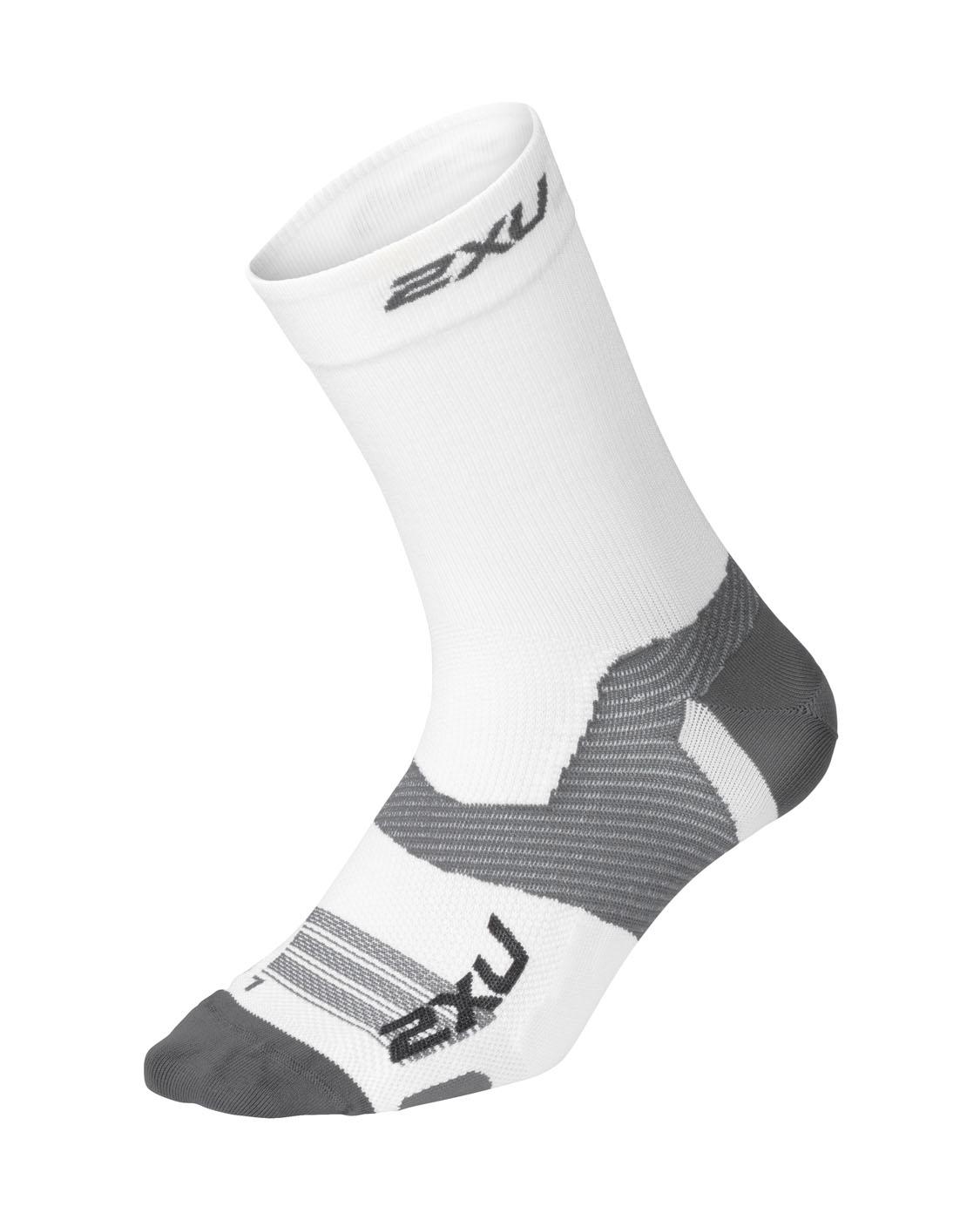 2XU Unisex Vectr Ultralight Crew Socks - White/Grey