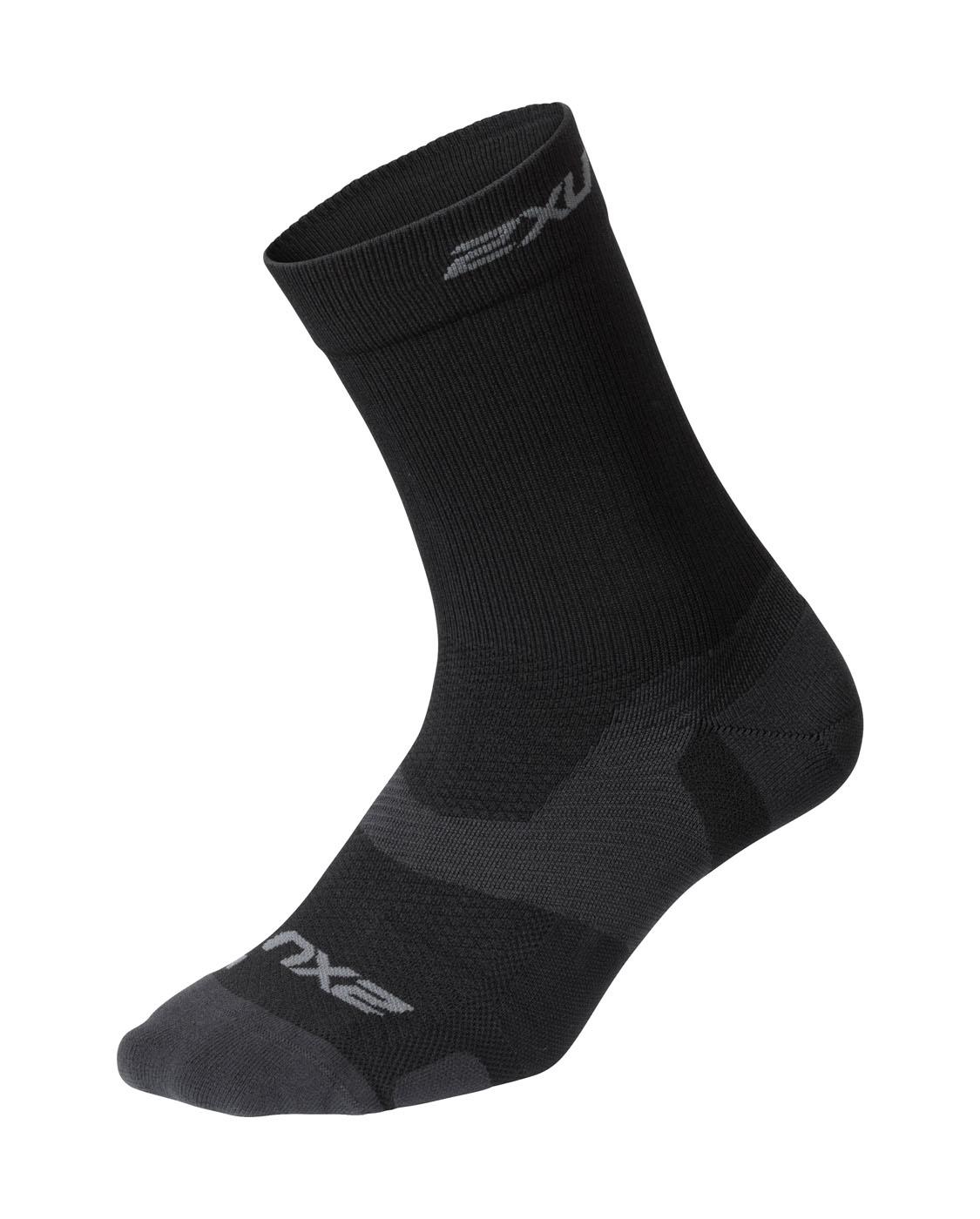 2XU Unisex Vectr Light Cushion Crew Socks - Black/Titanium