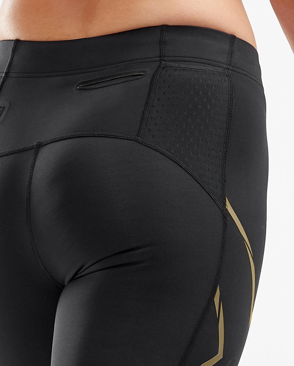2XU Women's MCS Run Compression 3/4 Tights - Black/Gold Reflective
