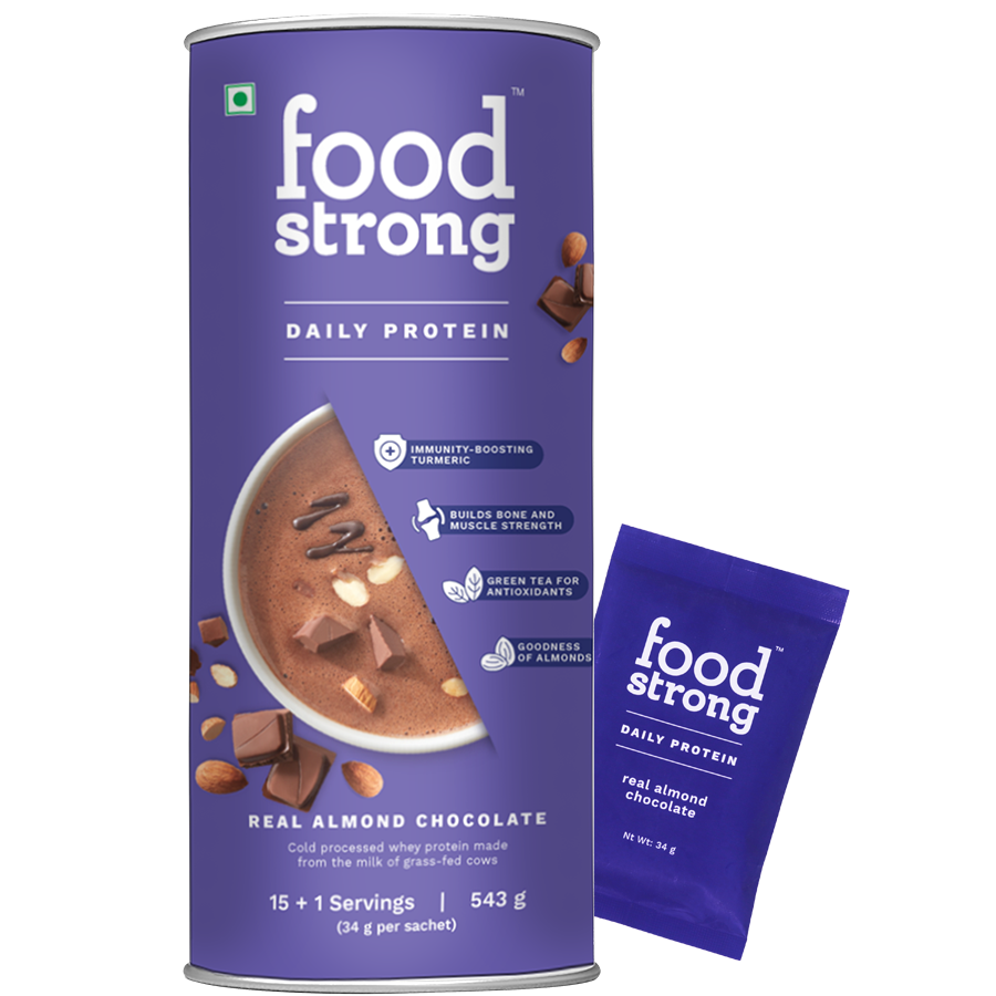 Foodstrong Daily Protein Almond Chocolate, 16 Sachets, 543 G
