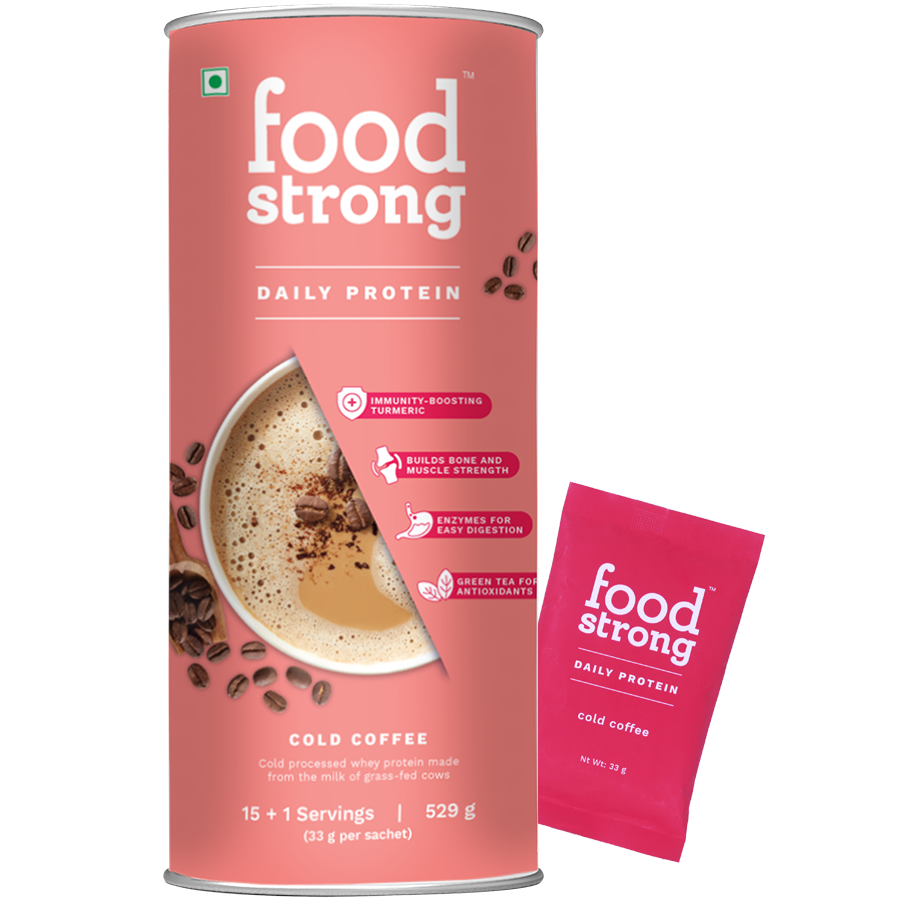 Foodstrong Daily Protein Cold Coffee, 16 Sachets, 529 G