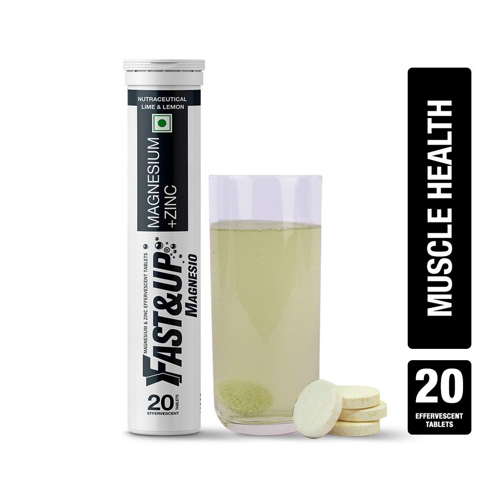 Fast&Up Magnesio With Magnesium And Zinc For Muscle Health And Stress - 20 Effervescent Tablets - Lime & Lemon Flavour