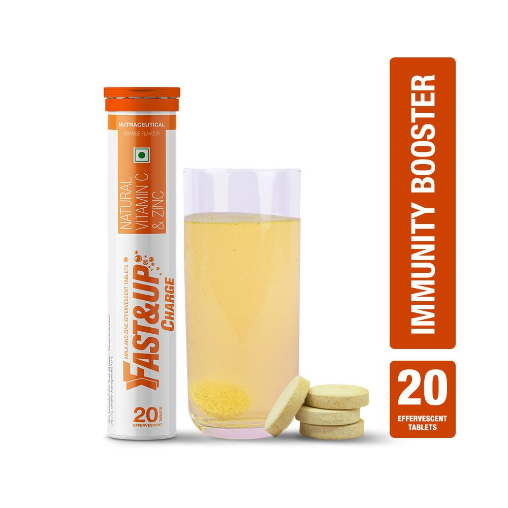 Fast&Up Charge With Natural Vitamin C & Zinc For Immunity - 20 Effervescent Tablets - Orange Flavour