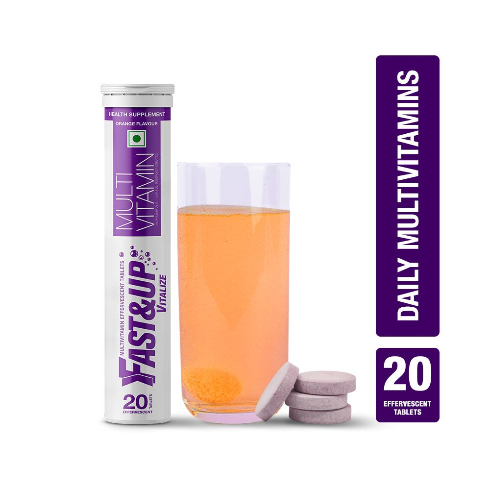 Fast&Up Vitalize Mutivitamin Supplements With Natural Beetroot Extract - 20 Effervescent Tablets - Orange Flavour