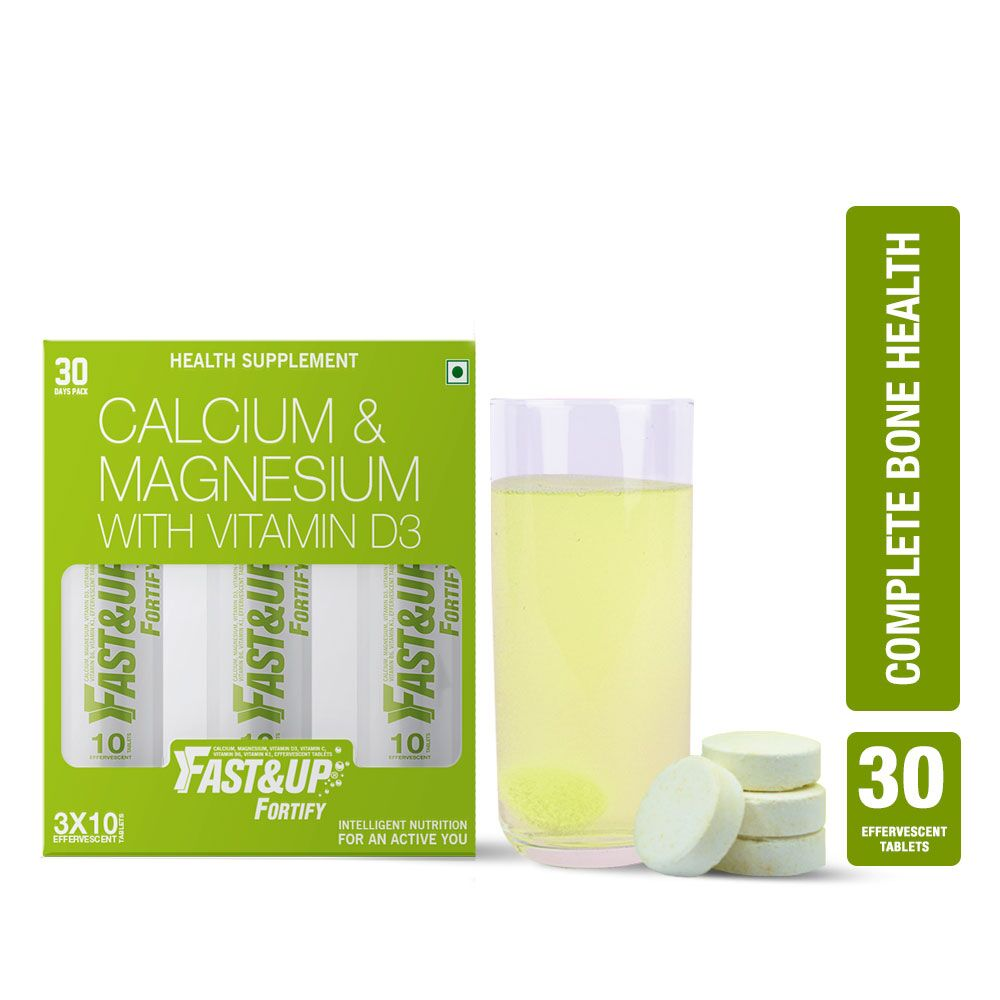 Fast&Up Fortify Calcium, Vitamin D3 & Magnesium Supplement For Bone Health - 30 Effervescent Tablets - Lime & Lemon Flavour