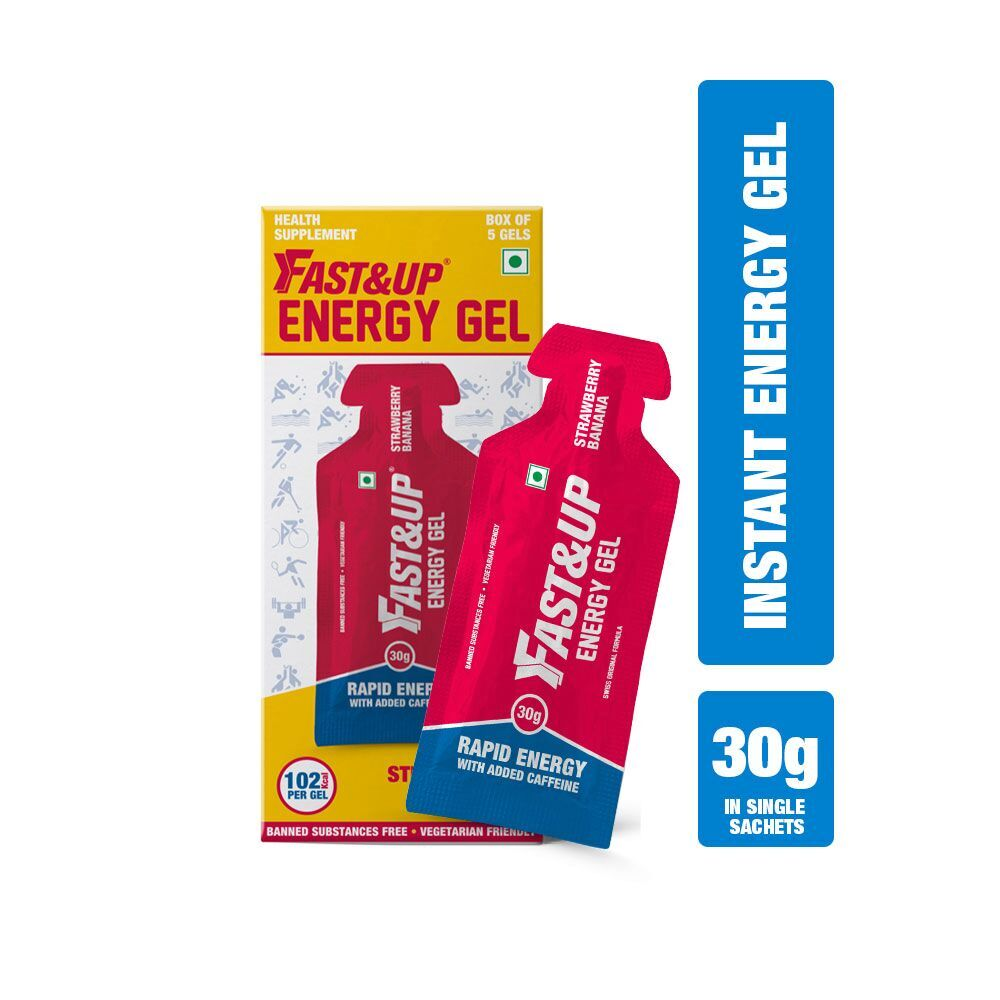 Fast&Up Vegan Sports Energy Gel For Instant Energy During Workout- 5x30gms Sachets - Strawberry Banana Flavour