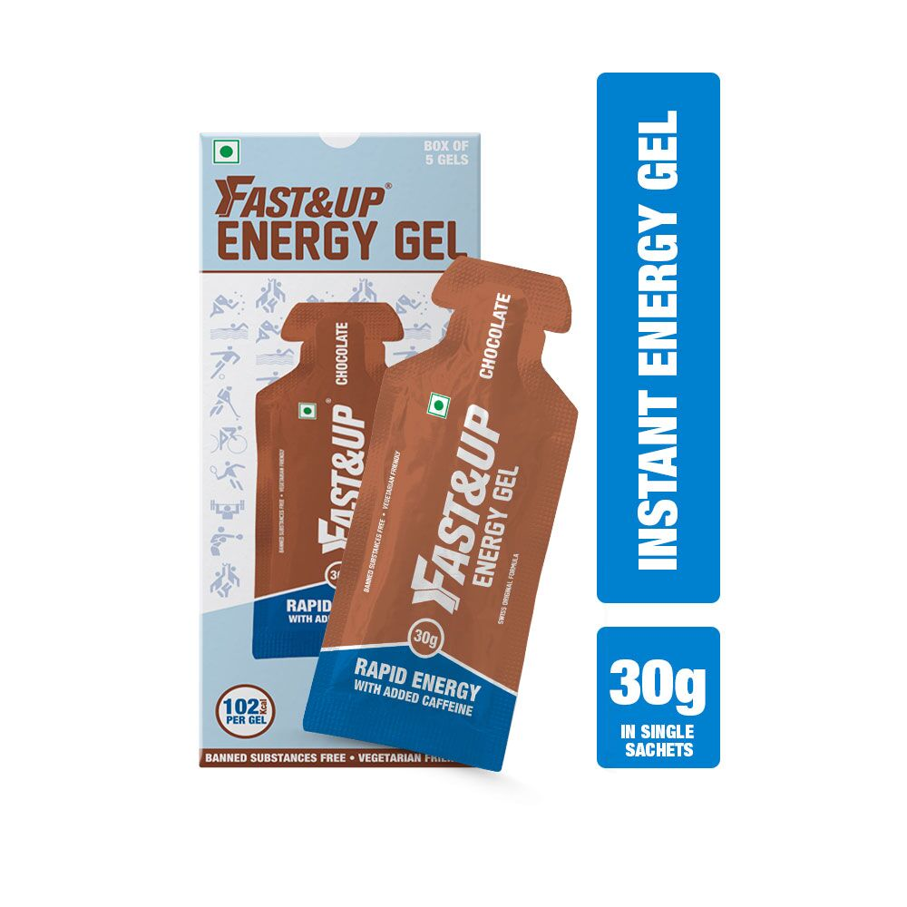 Fast&Up Vegan Sports Energy Gel For Instant Energy During Workout- 5x30gms Sachets - Chocolate Flavour