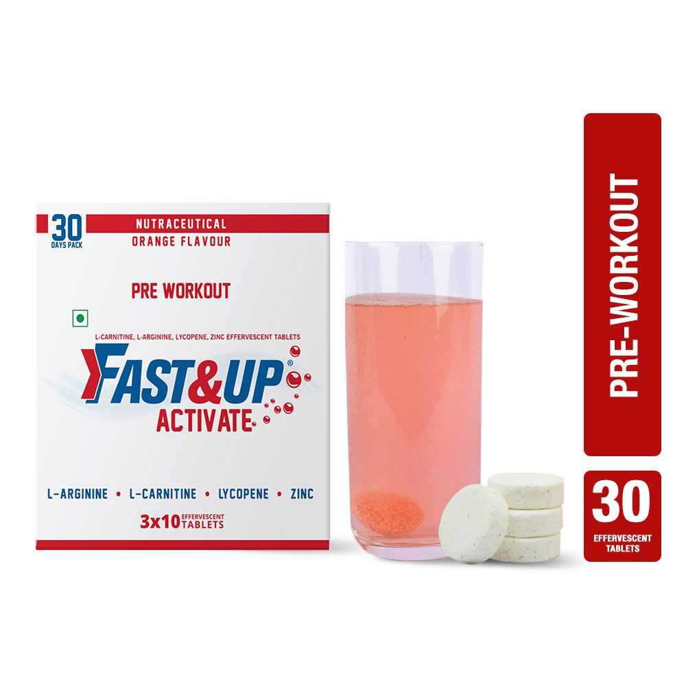 Fast&Up Activate (1500 Mg Arginine) Pre Workout Sports Drink With Protien Supplements - 30 Effervescent Tablets - Orange Flavour