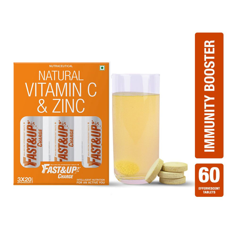 Fast&Up Charge With Natural Vitamin C & Zinc For Immunity - 60 Effervescent Tablets - Orange Flavour