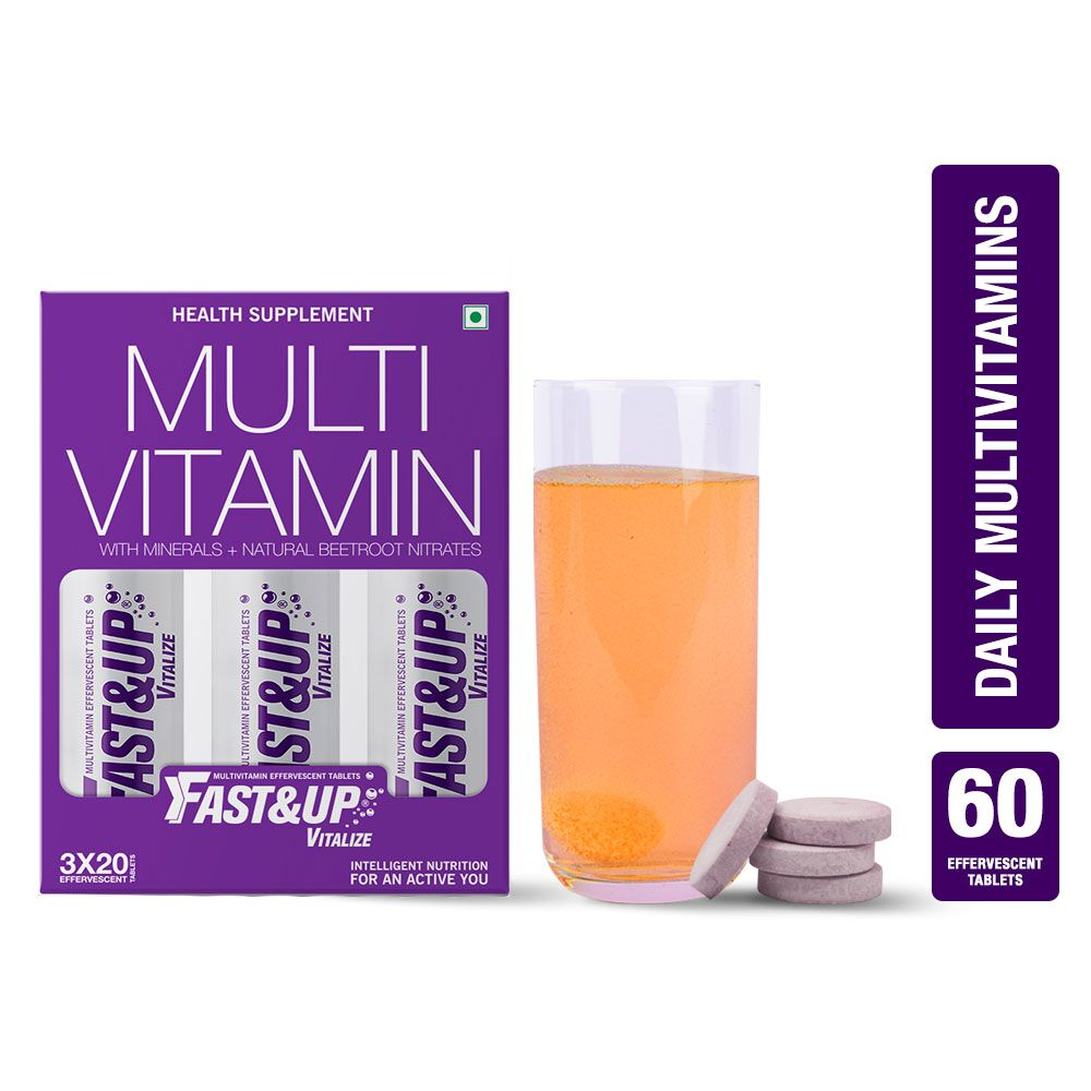 Fast&Up Vitalize Mutivitamin Supplement For Men And Women - 60 Effervescent Tablets - Orange Flavour
