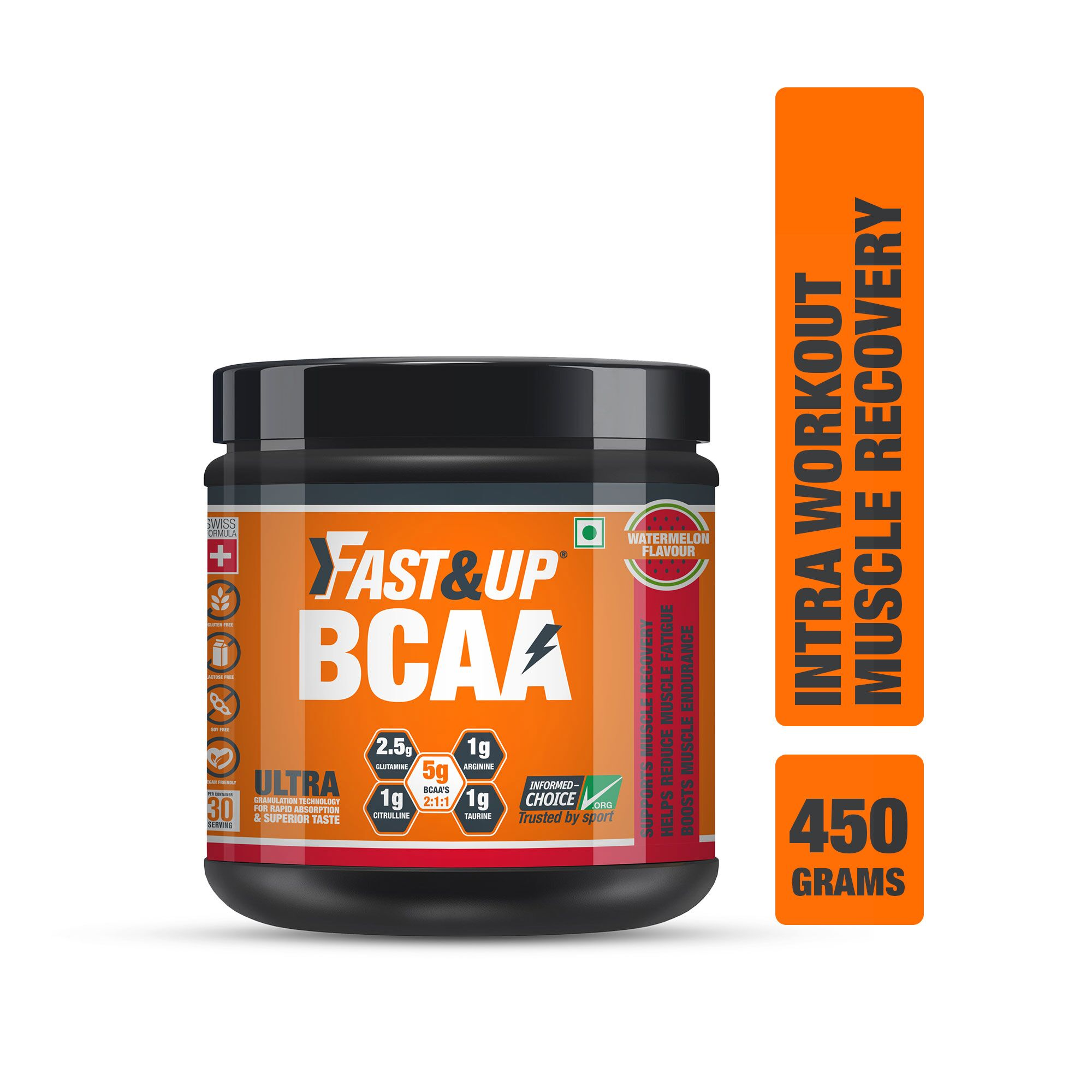 Fast&Up BCAA 2:1:1 For Pre/Intra/Post Workout With Arginine, Glutamine And Muscle Activation Boosters - 450 Gms - Watermelon Flavour