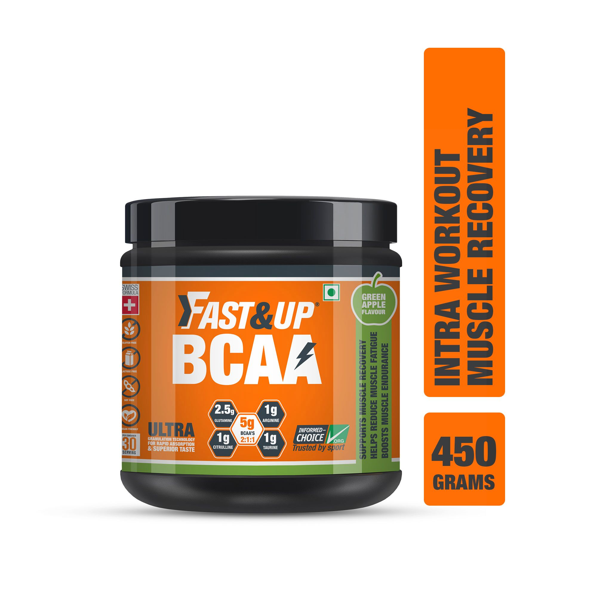 Fast&Up BCAA 2:1:1 For Pre/Intra/Post Workout With Arginine, Glutamine And Muscle Activation Boosters - 450 Gms - Green Apple Flavour
