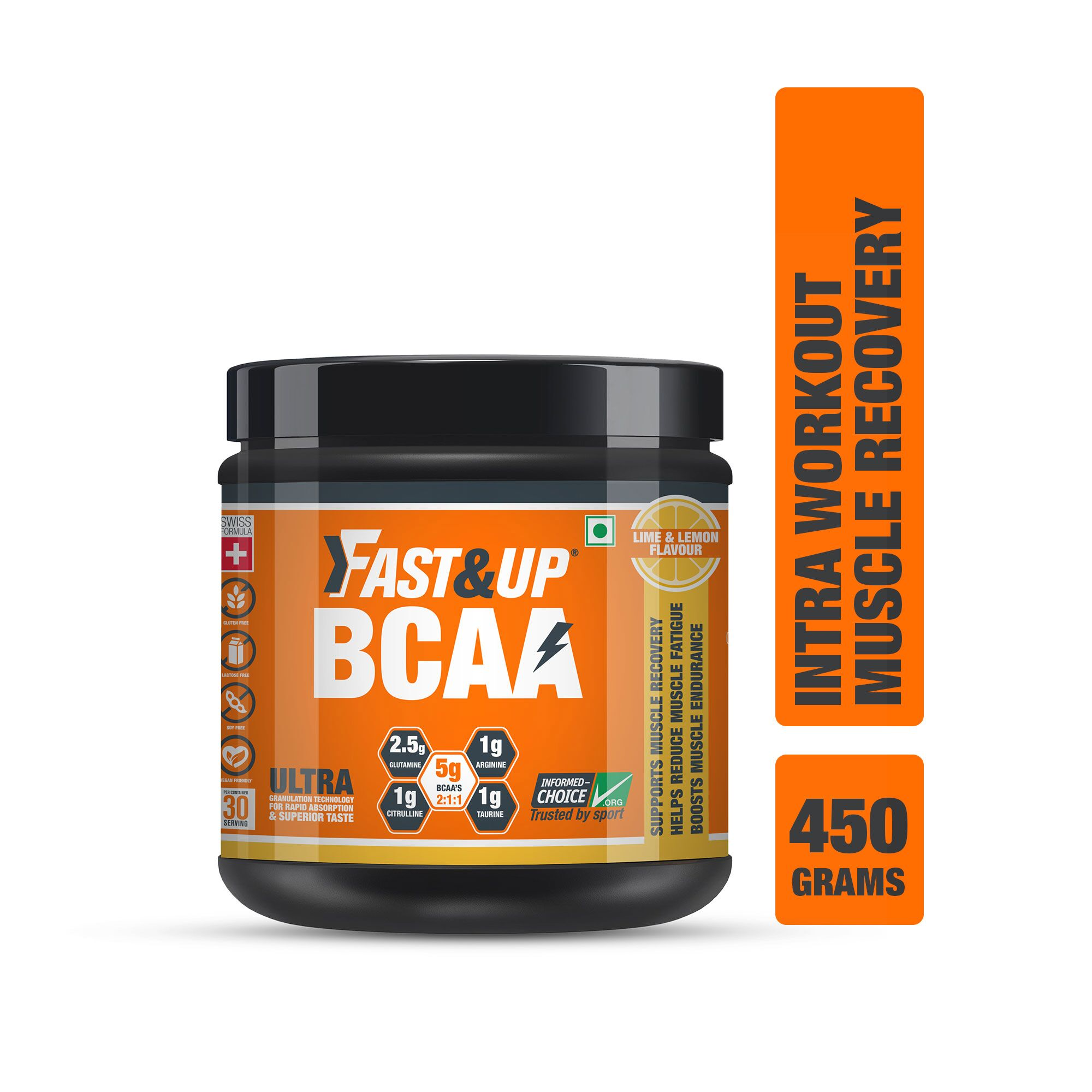 Fast&Up BCAA 2:1:1 For Pre/Intra/Post Workout With Arginine, Glutamine And Muscle Activation Boosters - 450 Gms - Lime&Lemon Flavour