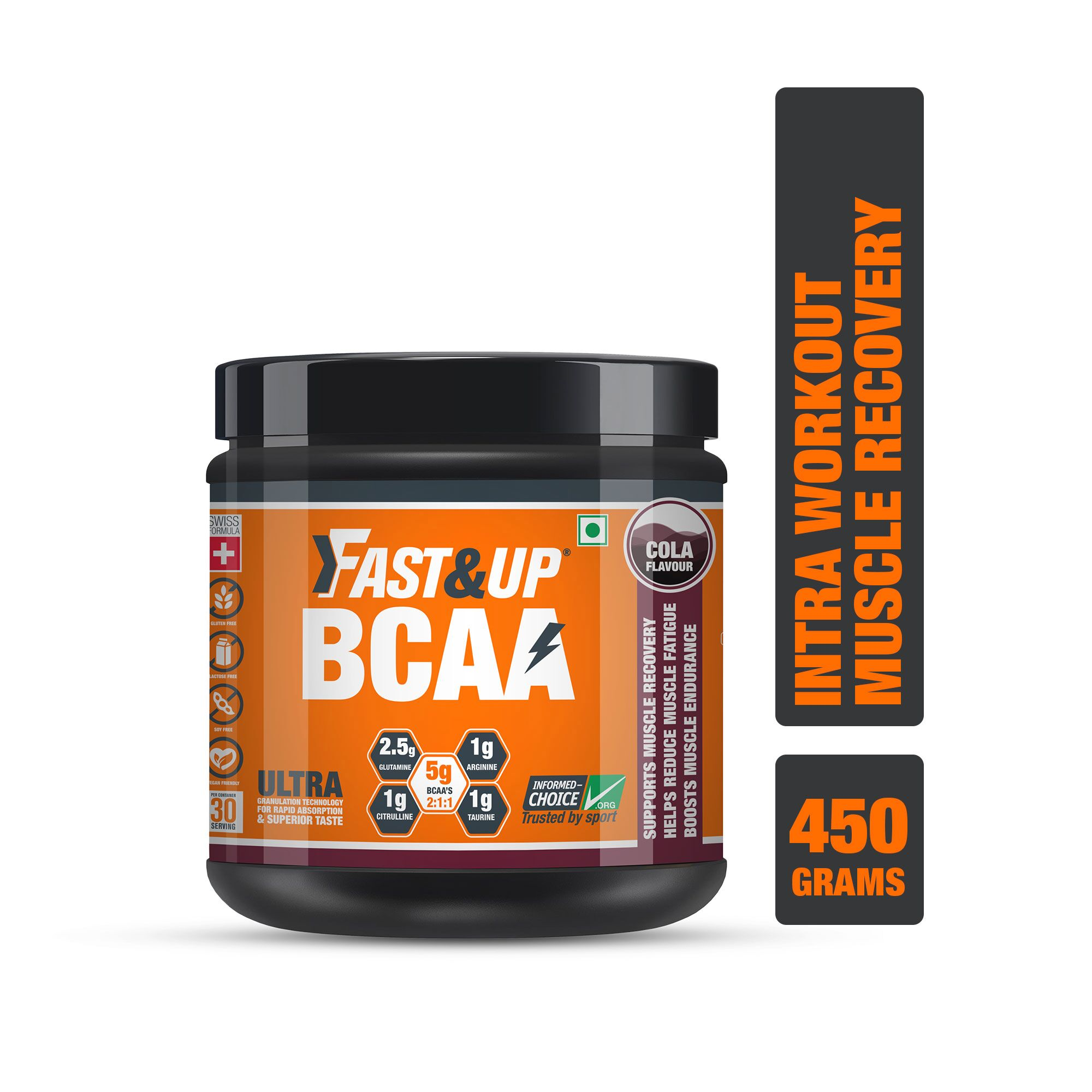 Fast&Up BCAA 2:1:1 For Pre/Intra/Post Workout With Arginine, Glutamine And Muscle Activation Boosters - 450 Gms - Cola Flavour