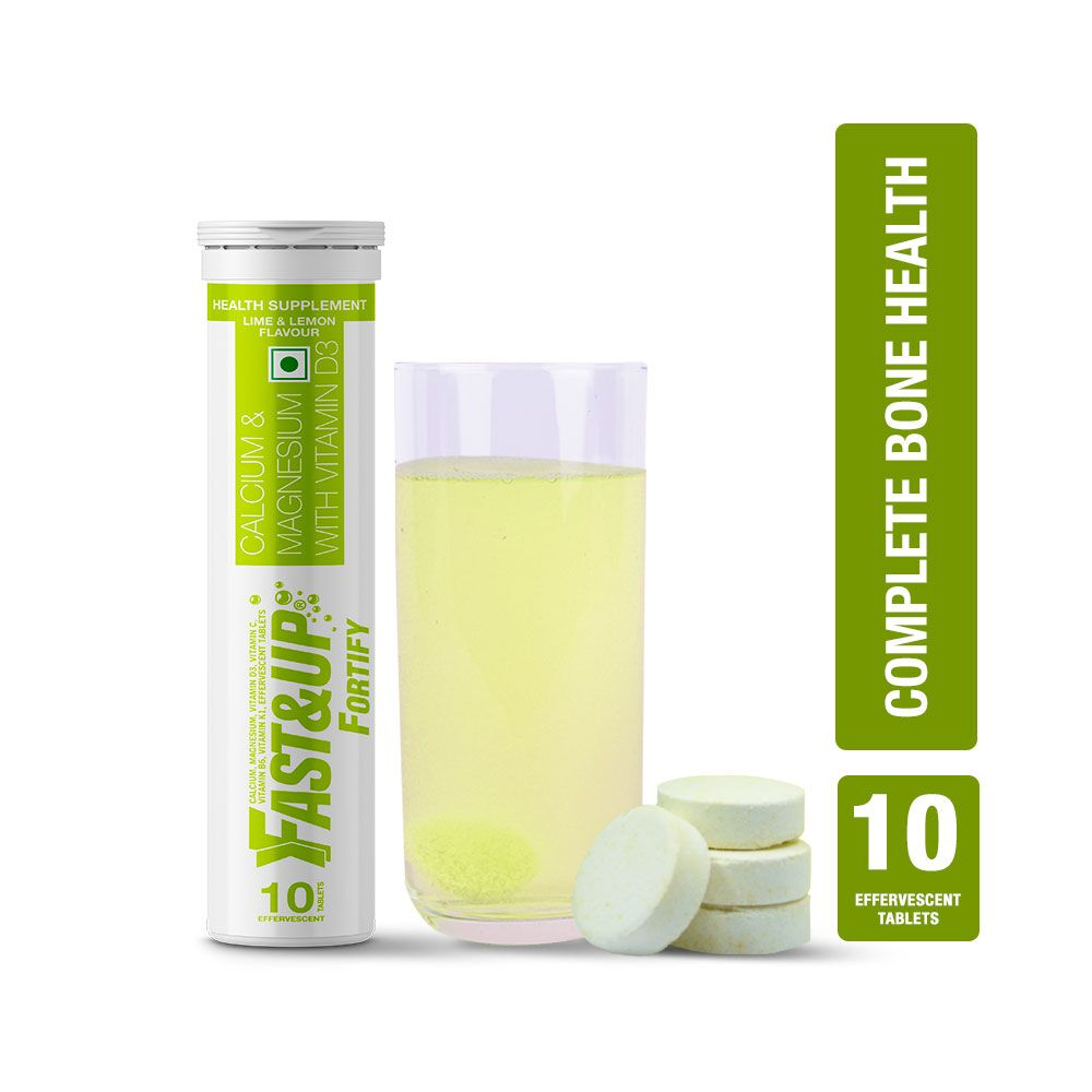 Fast&Up Fortify Calcium, Vitamin D3 & Magnesium Supplement For Bone Health - 10 Effervescent Tablets - Lime & Lemon Flavour