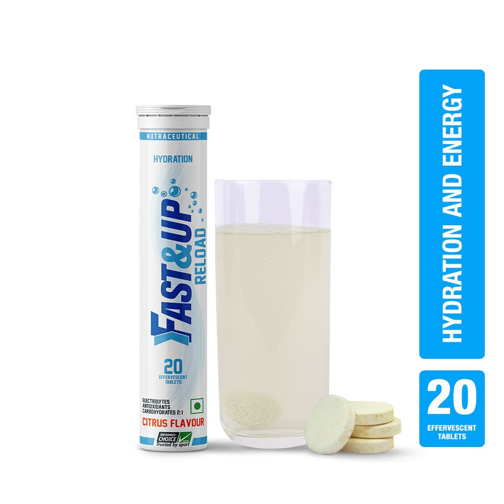 Fast&Up Reload Electrolytes Energy & Instant Hydration Sports Drink - 20 Effervescent Tablets - Citrus Flavour