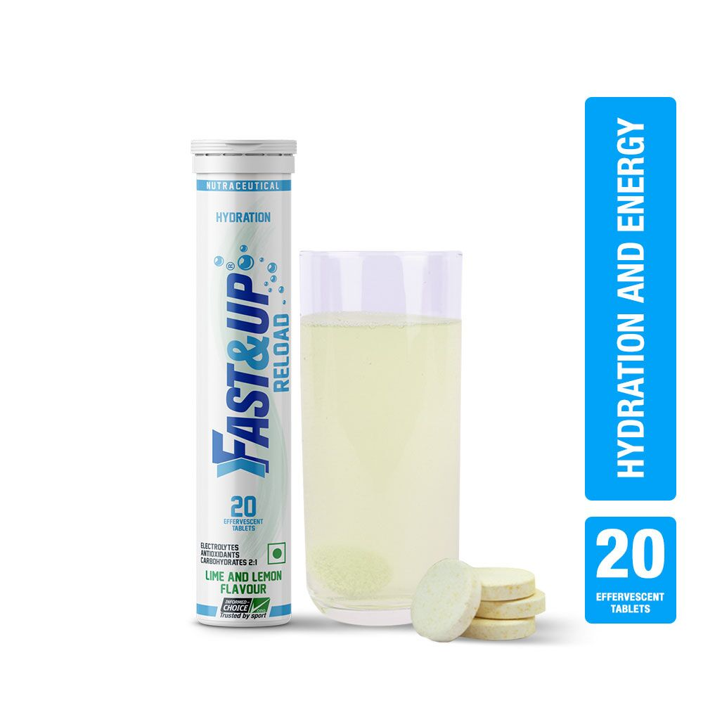 Fast&Up Reload Electrolytes Energy & Instant Hydration Sports Drink - 20 Effervescent Tablets - Lime&Lemon Flavour