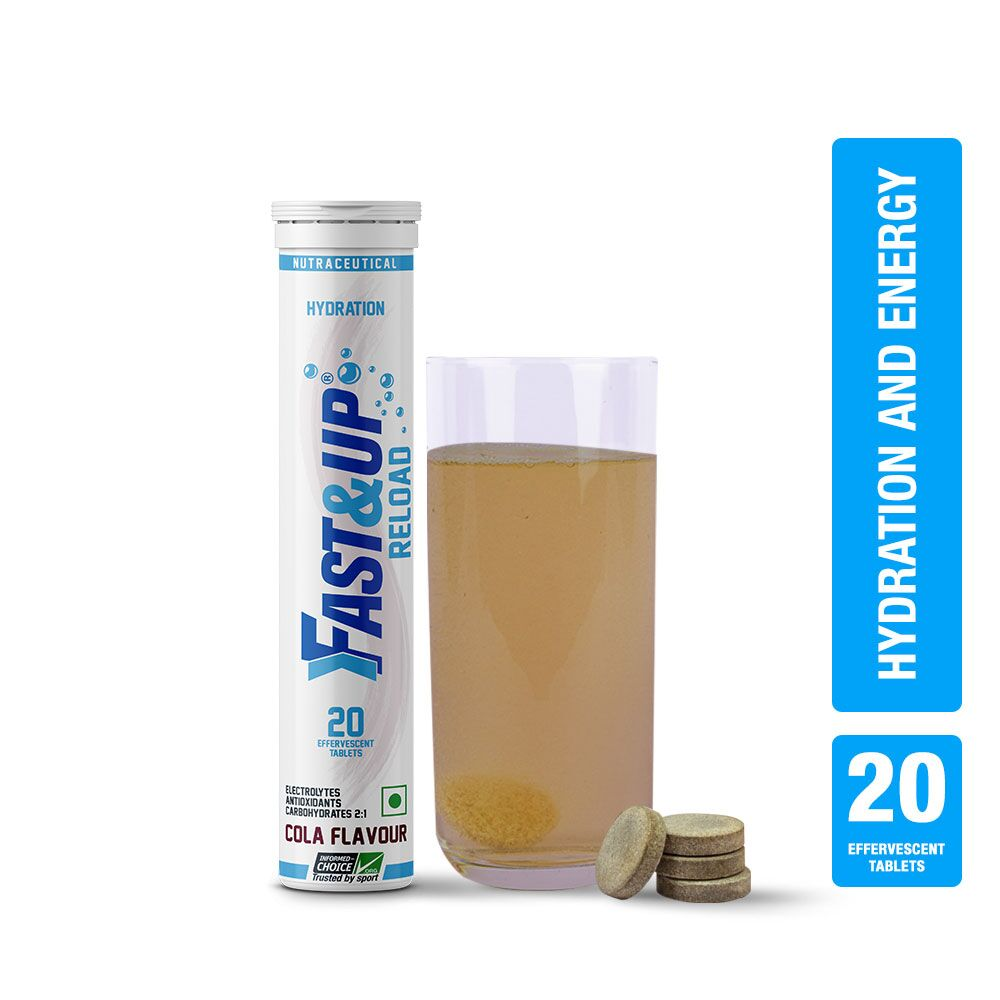 Fast&Up Reload Electrolytes Energy & Instant Hydration Sports Drink - 20 Effervescent Tablets - Cola Flavour