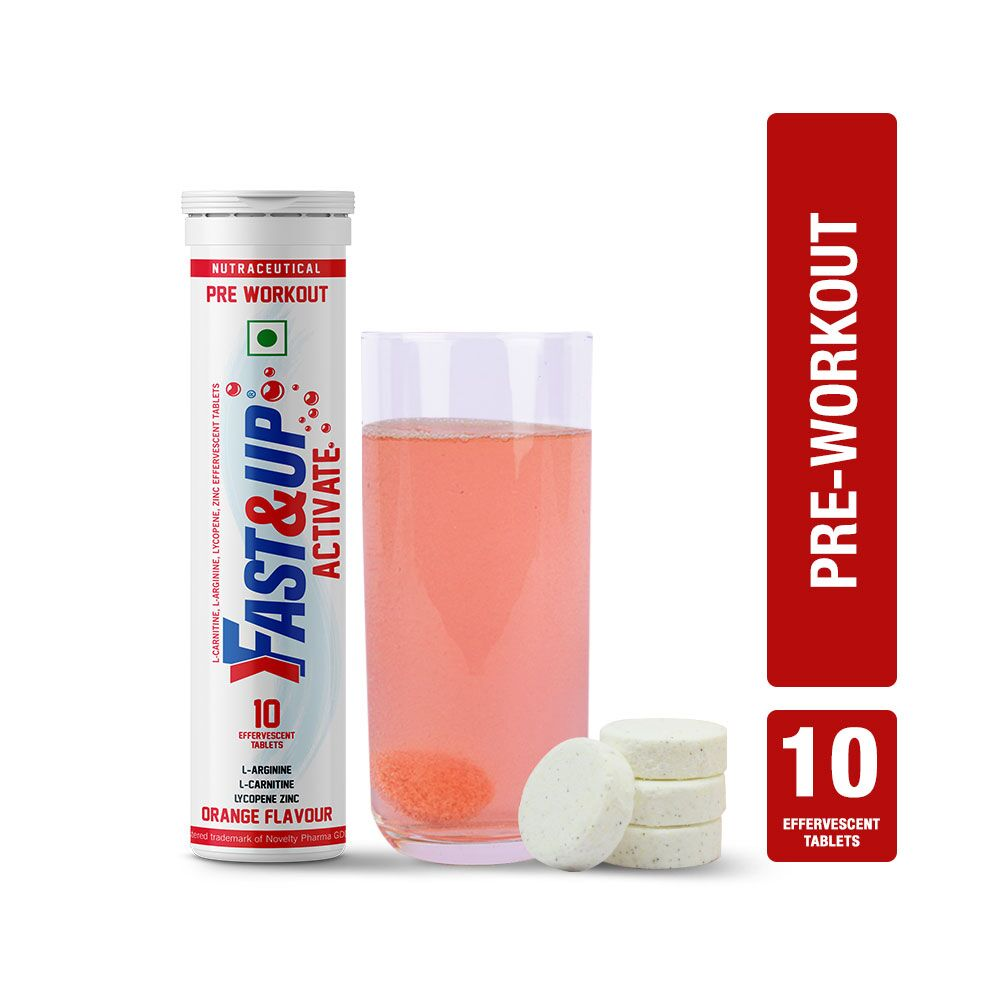 Fast&Up Activate (1500 Mg Arginine) Pre Workout Sports Drink With Protien Supplements - 10 Effervescent Tablets - Orange Flavour